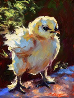 """Super Chick"" impressionist style oil painting of a yellow chick"