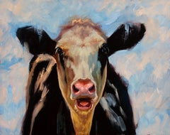 """What's Up"" impressionist style oil black and white cow portrait"