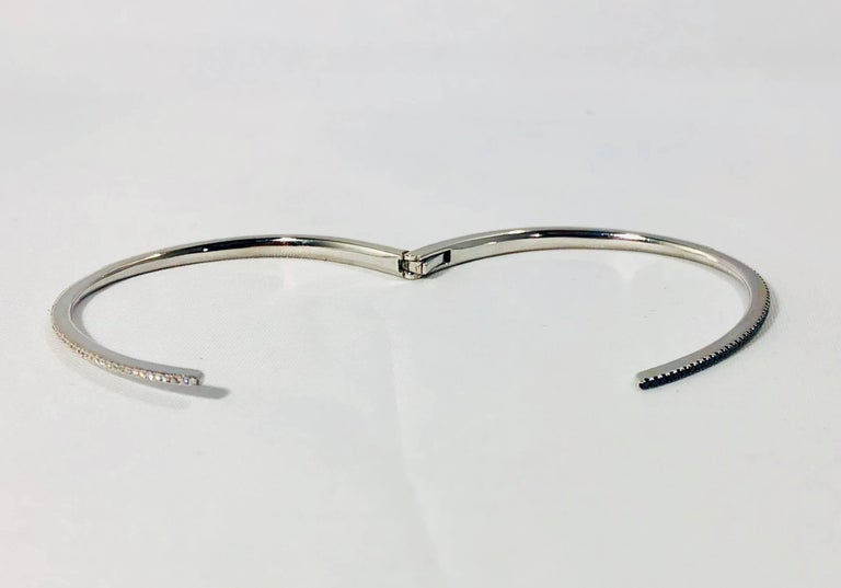 Cherie Dori 18 Karat White Gold with White and Black Diamond Cuff Bracelet For Sale 5