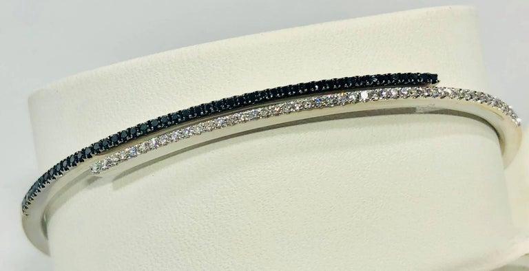 Round Cut Cherie Dori 18 Karat White Gold with White and Black Diamond Cuff Bracelet For Sale