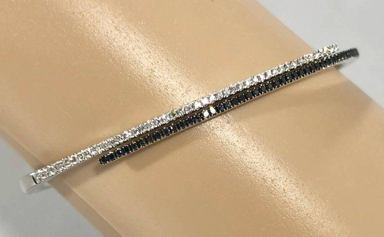 Women's Cherie Dori 18 Karat White Gold with White and Black Diamond Cuff Bracelet For Sale
