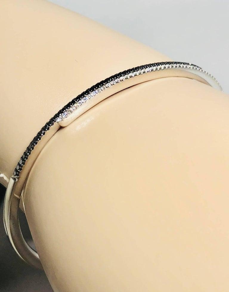 Cherie Dori 18 Karat White Gold with White and Black Diamond Cuff Bracelet For Sale 2