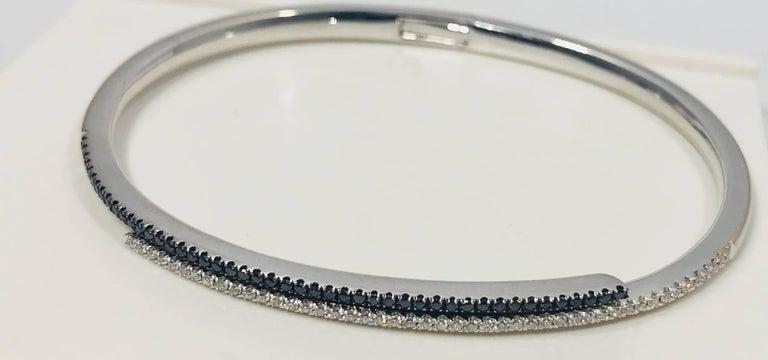 Cherie Dori 18 Karat White Gold with White and Black Diamond Cuff Bracelet For Sale 3