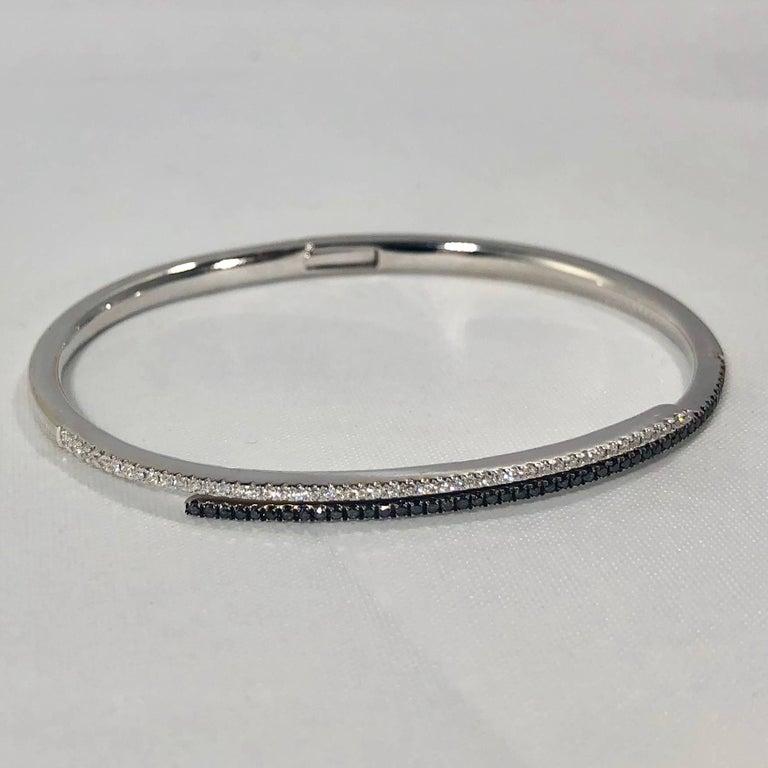 Cherie Dori 18 Karat White Gold with White and Black Diamond Cuff Bracelet For Sale 4