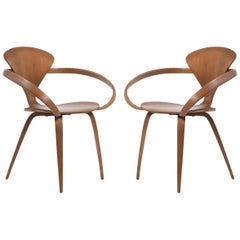 Cherner Armchairs in Walnut by Norman Cherner, Pair