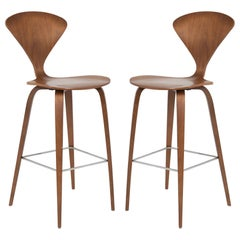 Cherner Counter Stools in Walnut by Norman Cherner, Pair