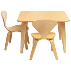 Cherner Square Play Table in Birch with 2 Cherner Chairs