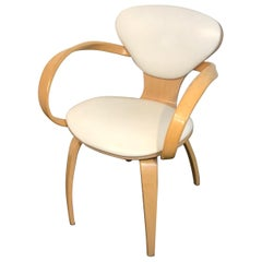 Cherner Style Natural Beech Armchair with White Leather Upholstery, 2 Available