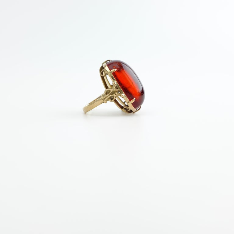 Rich Cherry Amber Ring and Earrings