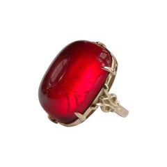 Cherry Amber Ring from Arts & Crafts Era