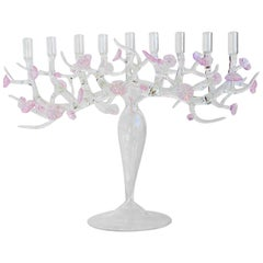 Cherry Blossom Menorah Glass Sculpture, by Simone Crestani, Made in Italy