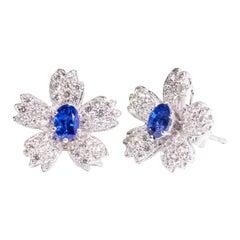 Cherry Blossoms Earrings, 18 Karat White Gold, Sapphire, Diamonds Earrings