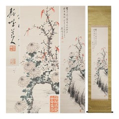 Cherry Blossoms Showa Period Scroll Japan 20c Artist Mataichiro Isoda Nihonga st