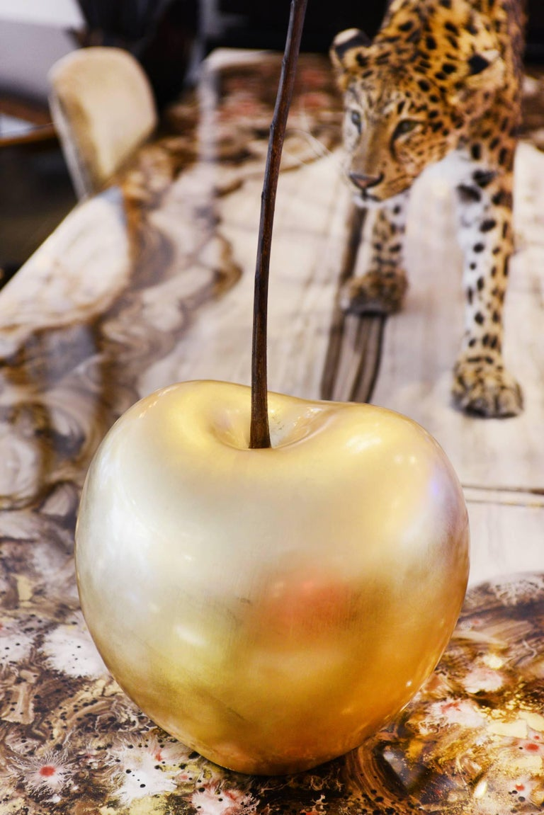 German Cherry Gold Large Sculpture in Ceramic For Sale