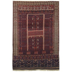 Cherry Handmade Carpet, Antique Rug Turkmen Hatchli, Wool Oriental Rugs for Sale