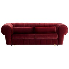 Cherry Hemingway Sofa with Antique Brass Color Feet