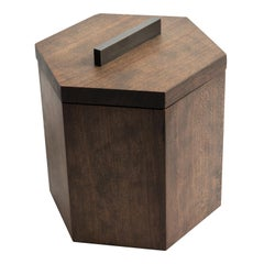 Ebonized Cherrywood Ice Bucket Black Patina Steel Hardware and Stainless Insert