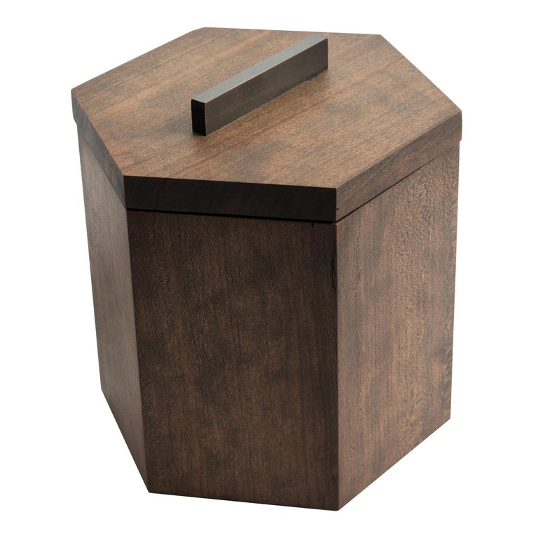 Ebonized Cherrywood Ice Bucket Black Patina Steel Hardware and Stainless Insert For Sale