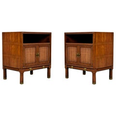 Cherry & Olive Wood Inlay Thomasville Campaign Talisman Nightstand End Tables