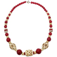 Cherry Red and Cream Colored Carved Bakelite Bead Necklace, Brass Tone Clasp