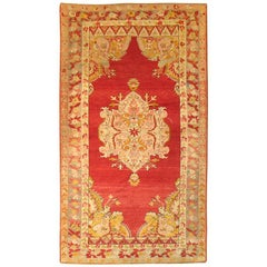 Cherry Red Antique Turkish Melas Rug, Early 20th Century