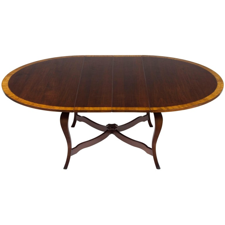 Cherry Round Extending French Leg Dining Room Table Rustic