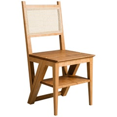 Cherry Stepladder Chair Library Chair, Transforming Chair and Step Stool