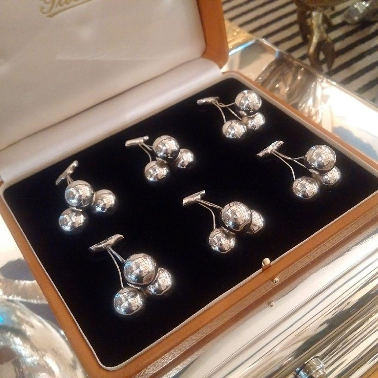 Other 'Cherry' Sterling silver place-card or menu holders by Gucci, 1960s For Sale