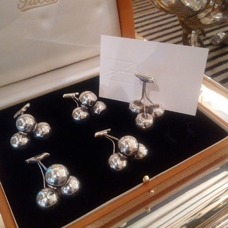 Italian 'Cherry' Sterling silver place-card or menu holders by Gucci, 1960s For Sale