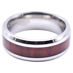Cherry Wood Inlay Stainless Steel Band