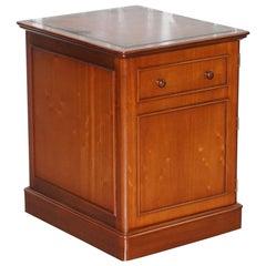 Cherrywood Oxblood Leather Office Cupboard Sliding Printer Shelf Filing Cabinet