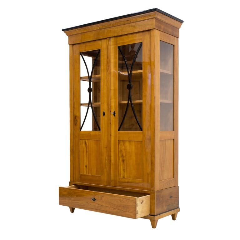 Biedermeier Cherrywood Vitrine, Germany, 19th Century For Sale