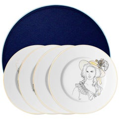 Box of 4 Dessert Porcelain gold plate, Parisian style