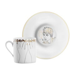 """Porcelain Coffee Cup and Gold, Parisian Style """"Hello"""""""