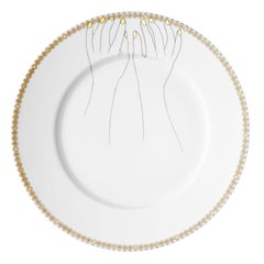 "Dinner Porcelain Gold Plate, Parisian Style ""Hello"""