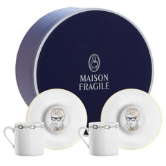 """Box of 2 Porcelain Coffee Cup and Gold, Parisian Style """" Scissors """""""