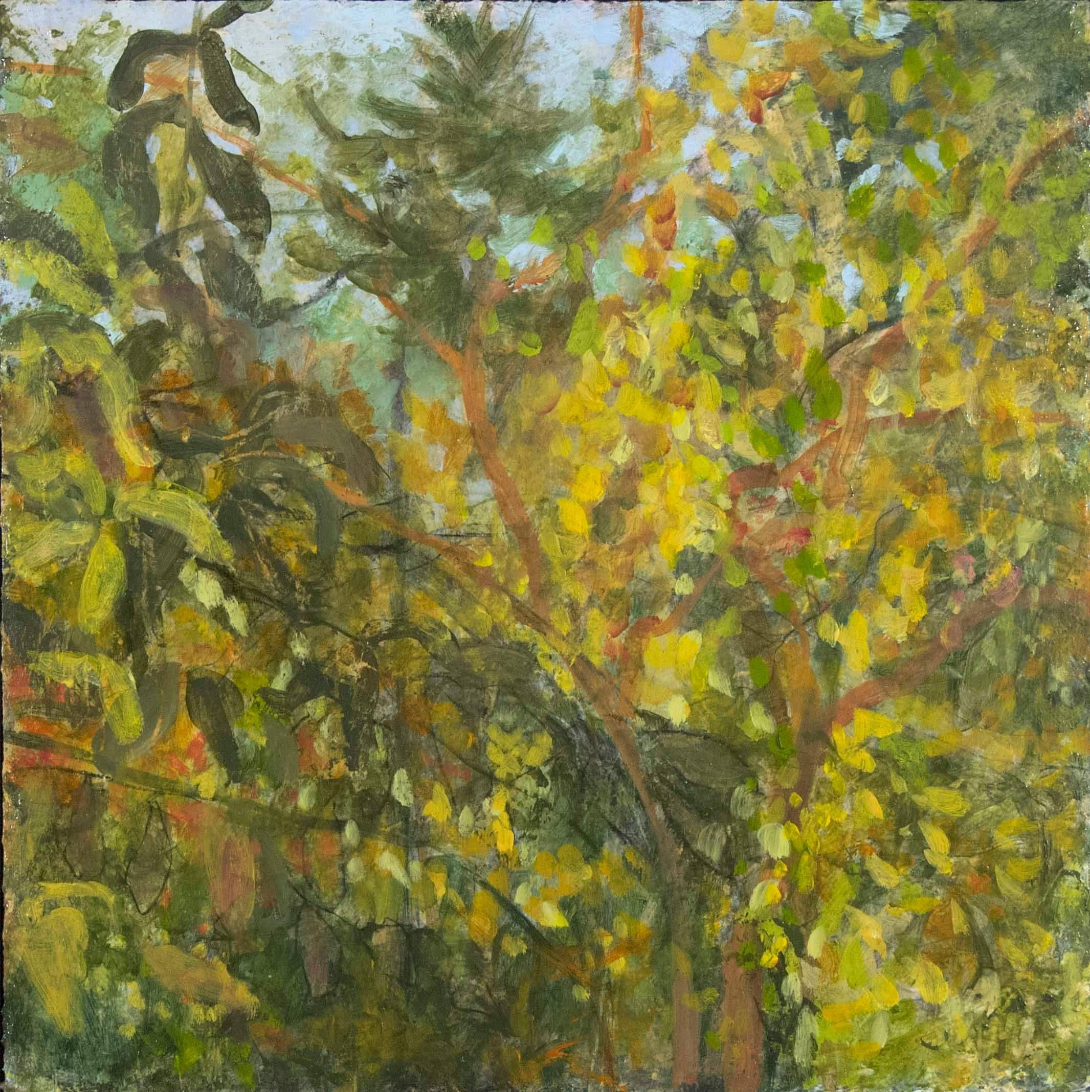 """""""Fall Changing"""", acrylic, painting, abstract, autumn, green, gold, blue"""