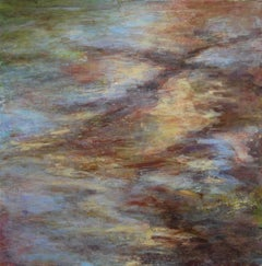 """Rainbow in Muddy Brook 4"", Cheryl Clinton, abstract, landscape, acrylic, brown"