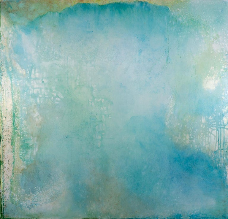 """Cheryl Clinton Landscape Painting - """"Spirit Map 1"""", acrylic, painting, contemporary, abstract, blue, green, white"""