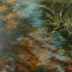 """""""Woodland Water 2"""", acrylic, painting, landscape, contemporary, browns"""