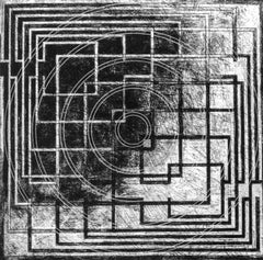 """""""Convey"""", abstract, black, white etching print, architectural influences."""