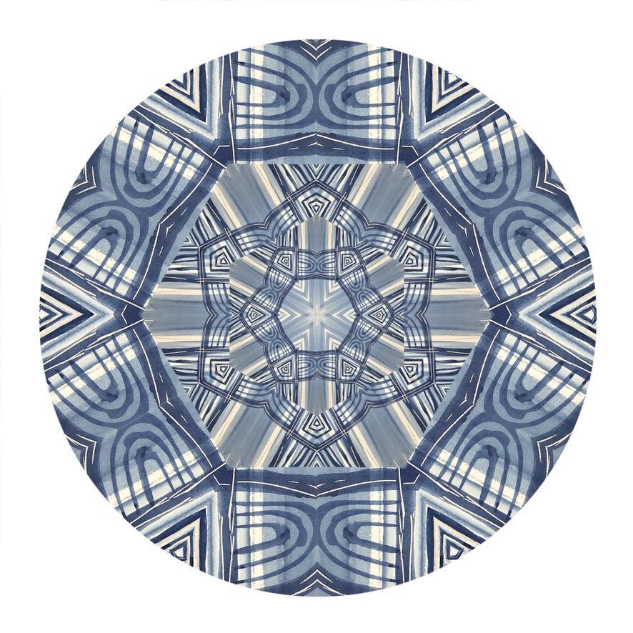 Kaleidoscope: Imagination, Digital Art Print, Blue mandala pattern, 2021