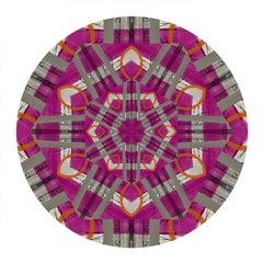 Kaleidoscope: Love/Forgive, Digital Art, Abstract Geometric Pattern Pink & Gray