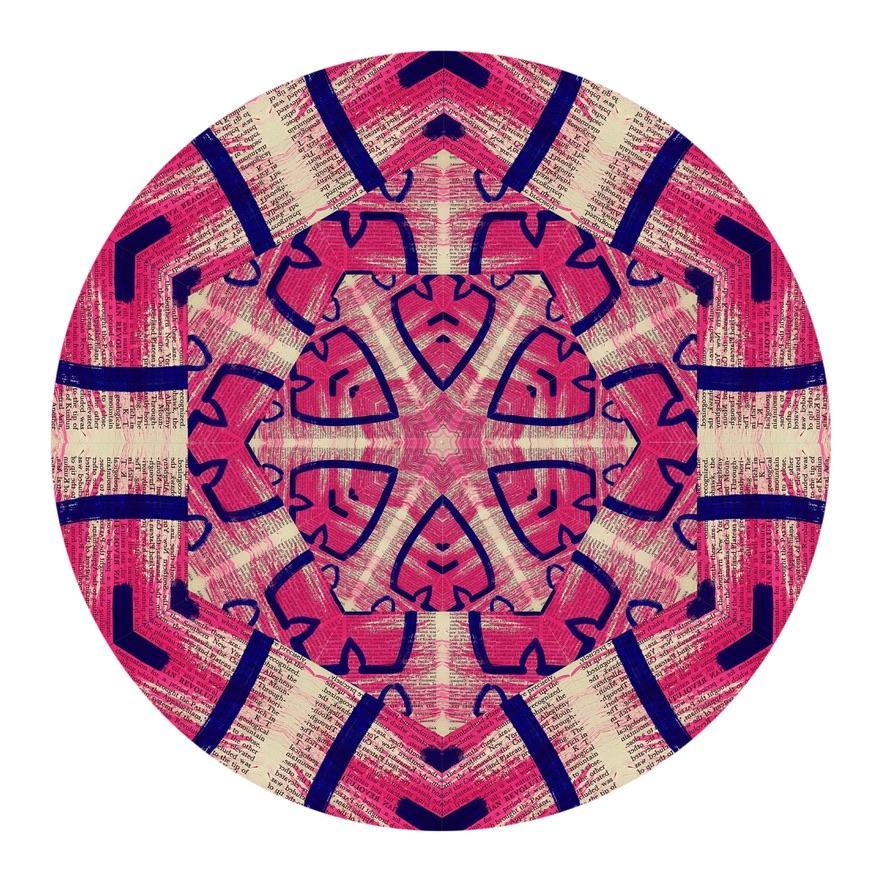 Kaleidoscope: Untitled, Digital Art, Hot pink & Indigo - Purple Abstract Pattern