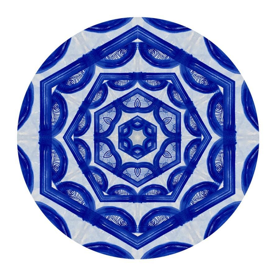 Kaleidoscope: Visions, Digital Art, Electric blue abstract geometric pattern
