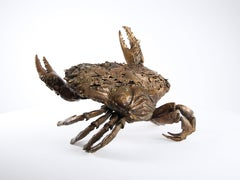 Crab Fighting, Bronze Sealife Sculpture