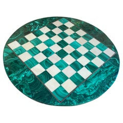 Chess Board in Solid Malachite and Marble, Italy, 1960