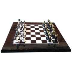Chess Set and Chess Board in Plexiglass and Metal, Italy, 1970s
