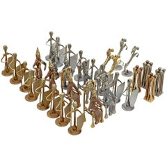Chess Set, Brutalist Style Handcrafted Steel Nail Silver and Bronze