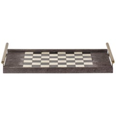 Chess Tray in Shagreen, Shell and Bronze Patina Brass by Kifu Paris